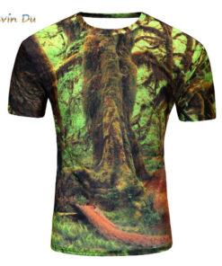3D designer du printed summer t shirt short sleeve men creative forest
