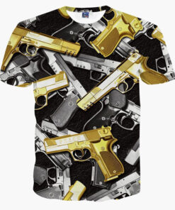 top women / men's short sleeve shirt printing yellow 3d funny shirt gun more