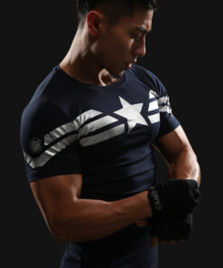 BING 3D Captain America T-shirt men male fitness compression shirts Tops Print