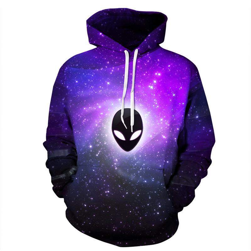 Spectral baseball Couples Men 3D purple hooded sweatshirt Print