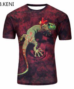 3D Lizard / Apple T-shirt printing summer put in Groot short men shirt
