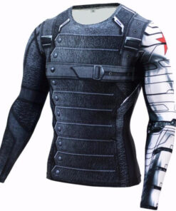 Mens Long Sleeve fitness Winter Soldier Marvel Superhero 3D Bucky T
