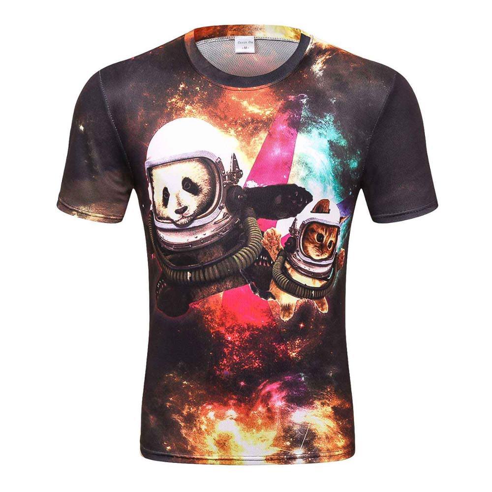 bce03e8a9e01 Galaxy 3D Space Cat shirt fun lovely panda short sleeve shirts for ...