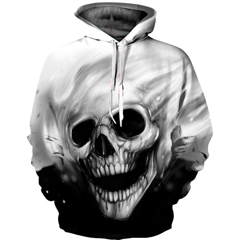 2018 Men's Hooded Sweatshirt Skull 3D Print melted casual sweaters