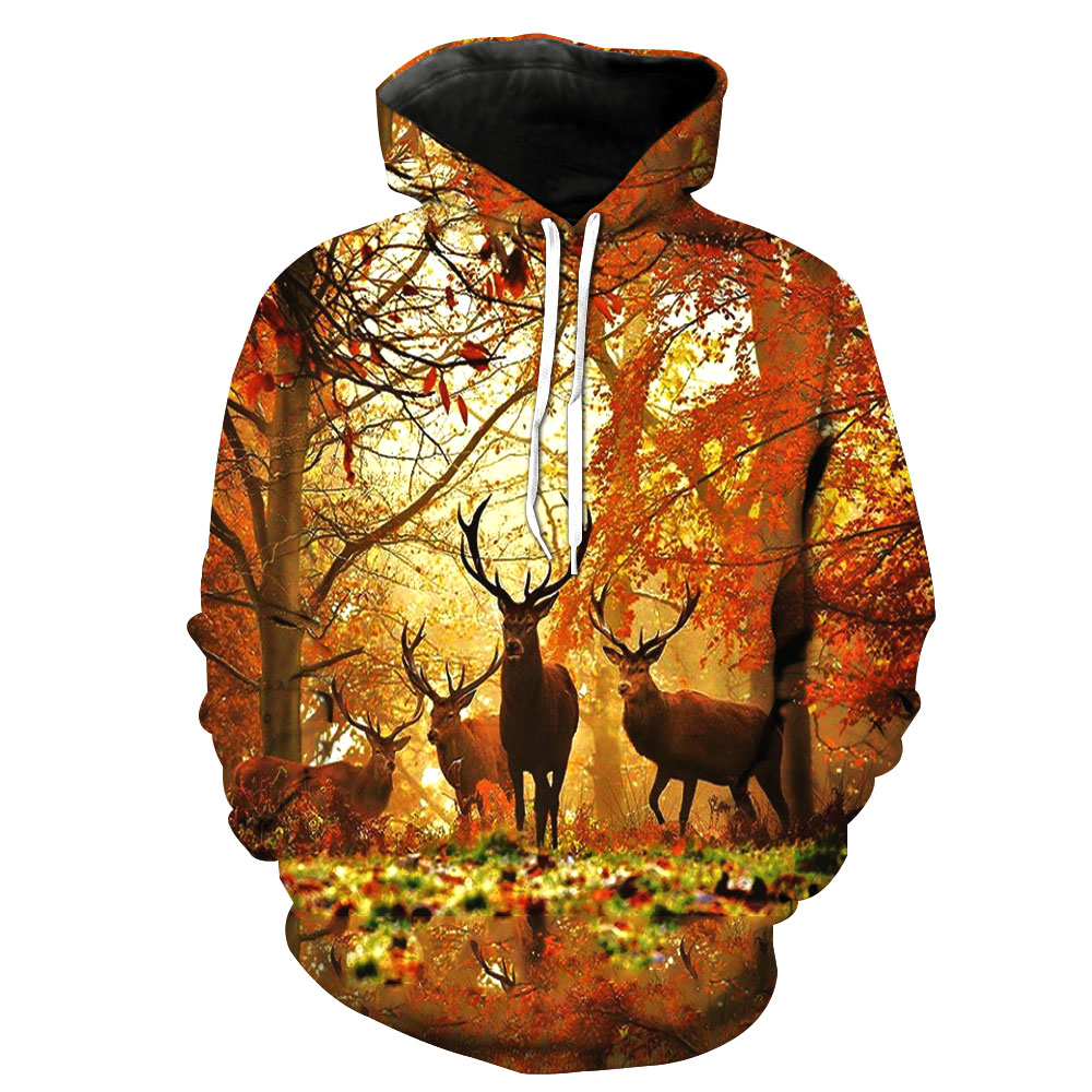 2018 T-shirt men / women animal print pattern 3D hooded deer forest
