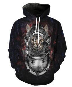 2018 T-shirt men / women 3d animal print pattern cat lovely hooded