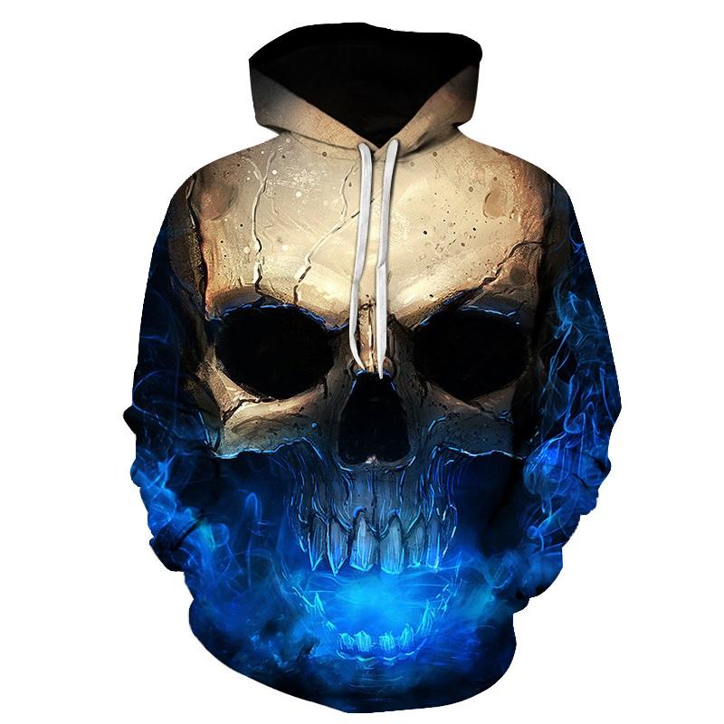 2018 Main Skull Men 3D printed sweatshirts funny hoodies Hip Hop