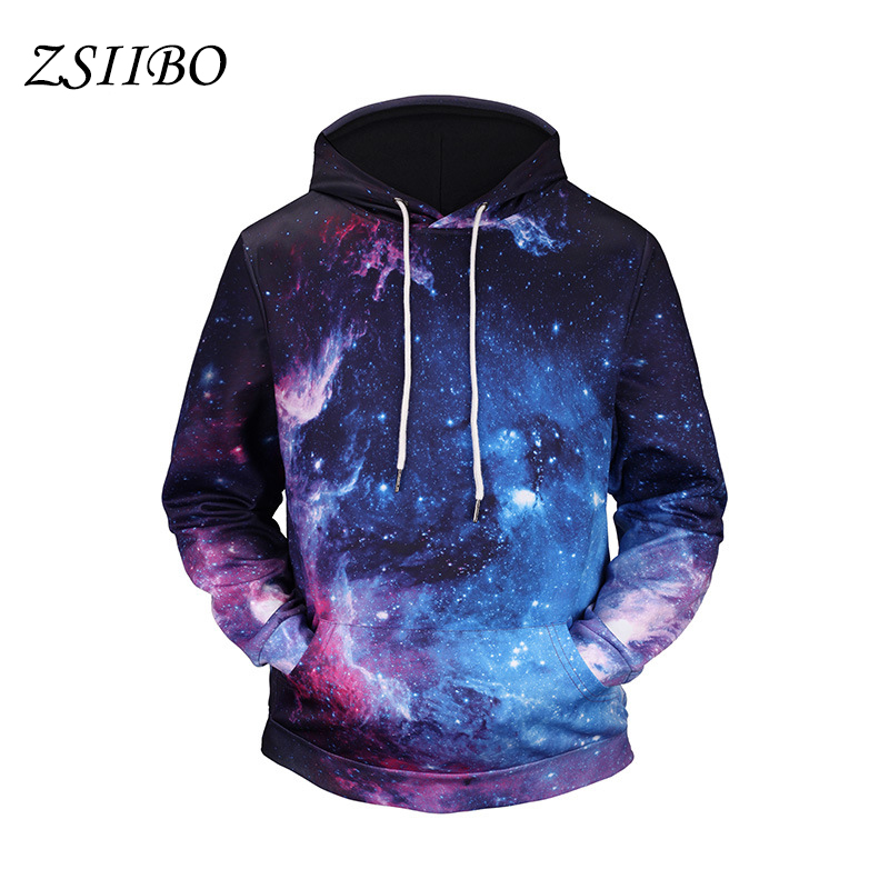 2018 Spring Autumn Star 3D printing with lace supreme starry sky Couple Hooded