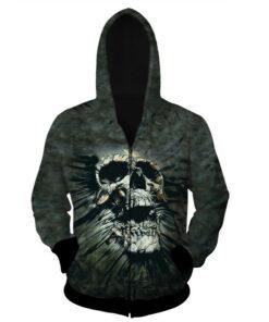 3D Print Sweat Men smoking skull long sleeves loose zipper hooded Sweatshirts