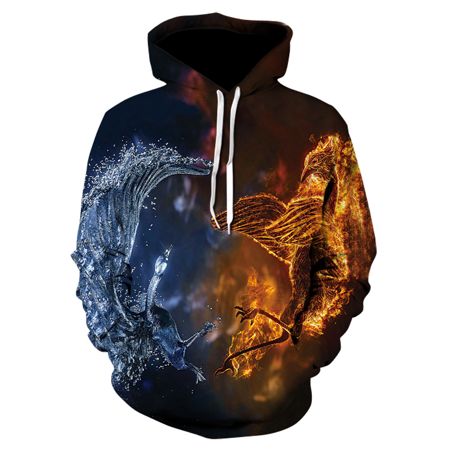 3D Men Hip Hop hooded jacket with printed hooded sweater casual autumn