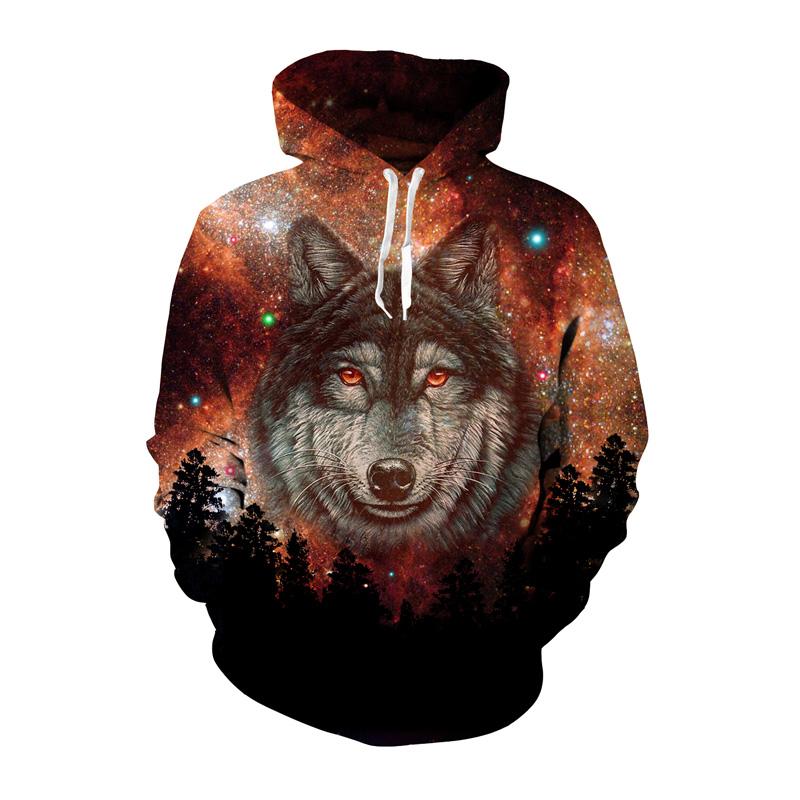 3D Wolf Printed sweatshirt sweater coat long-sleeved hooded