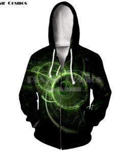 3D printing Cosmos geometric zipper long-sleeved zipper Men Polyester Geometry