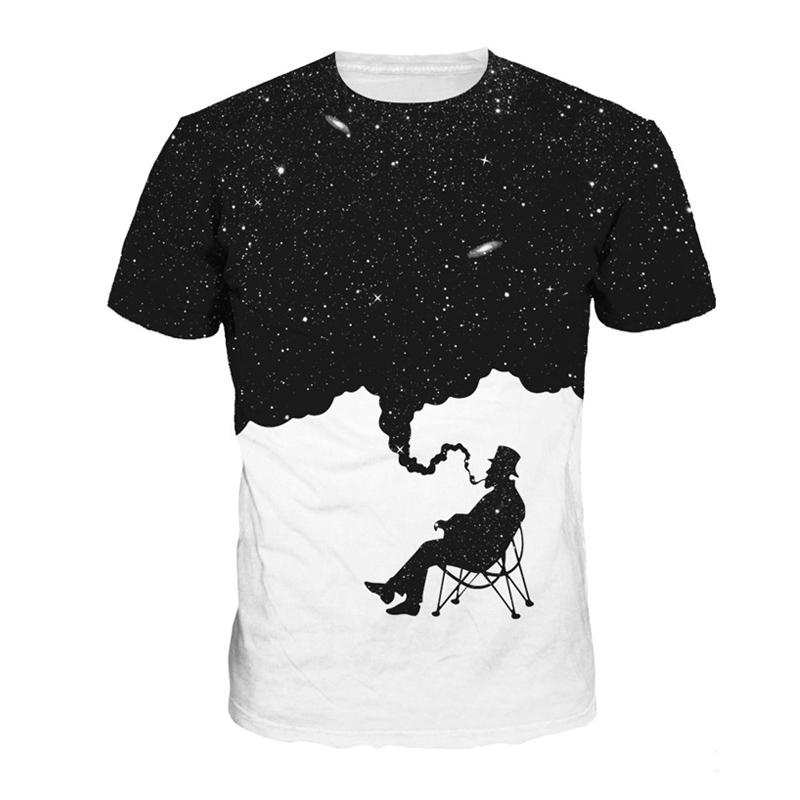 ce7a9fd5 T Shirt Smoke 3D creative fun printed T shirts mens short sleeve ...
