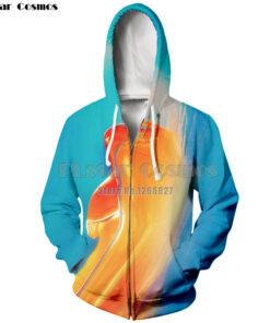 Cosmos 3D printing zipper clothing zipper geometric hat men's long sleeve polyester