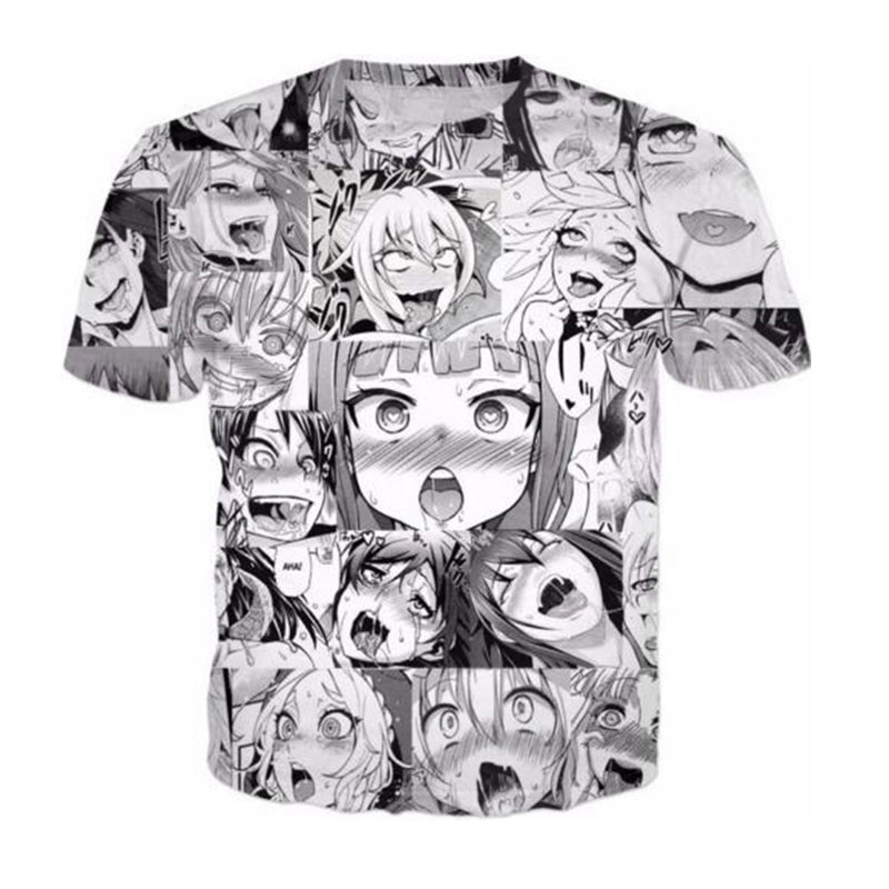 ab281ffe Ahegao 3D animated shirt Men Hip Hop Streetwear women casual tops funny tes