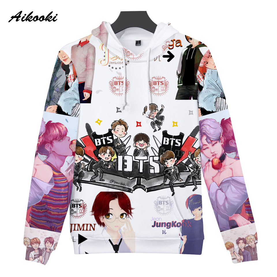 JUNG KOOK Cartoon Hoodie Women Men 3D Sweatershirt Rapper Sweaters Shirts