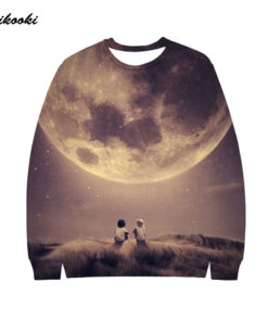 Moon 3D printing loving men / women without cap hoodies hooded cotton Polluvers Sky Children