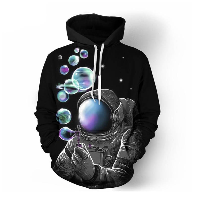 Blow bubbles 3d Astronaut Hooded Men Women Autumn Winter Black Hoodie