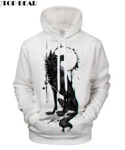 Wolf 3D Animal Print autumn winter hoodies drop ship ZOOTOP OSO