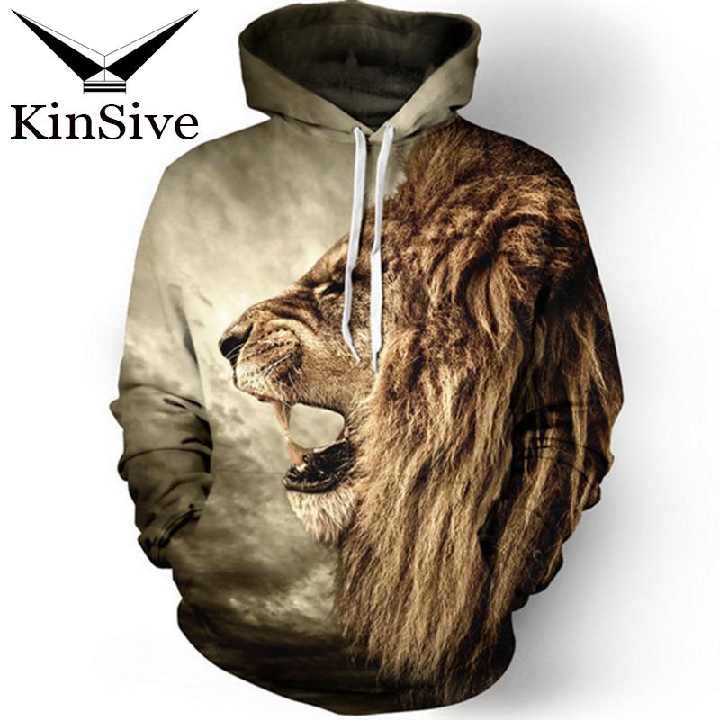 3D printed sweatshirts Lion Men Women casual hooded sweatshirts tracksuits