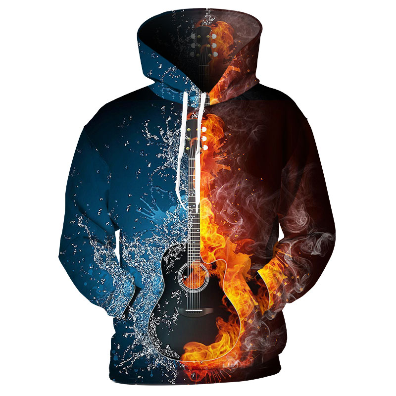 ffa4bba38c3b Ice Fire Guitar Men 3D Print Hoodie Hooded Casual Streetwear - Wolamola