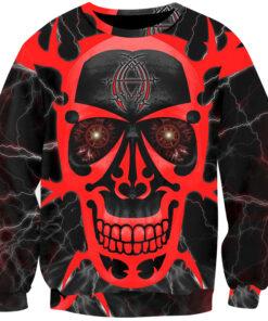 Sweatshirts Red Lightning Skull 3D Print Tops regular Streetwear