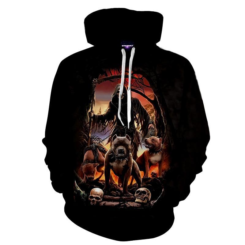 Animal Hoodies Men Women skull print sweatshirt 3D zombie dog