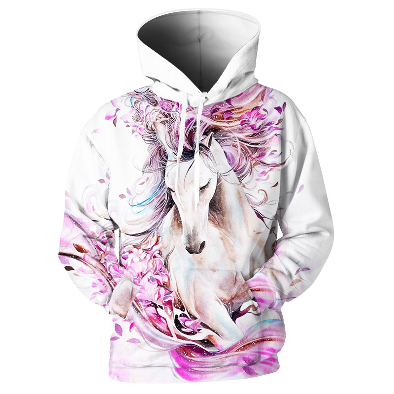 Men White Horse butterfly creative 3D printing loose hooded Harajuku