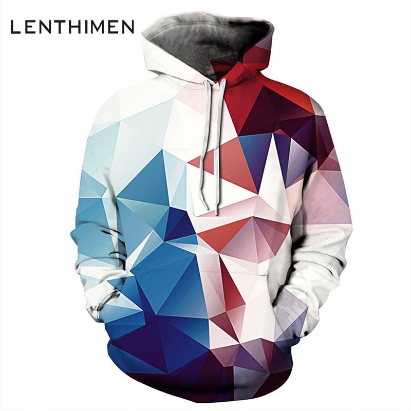 3D printing couples irregular loose diamond unisex hooded sweatshirt with soft