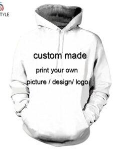 Custom made for man hooded sweatshirts 3D printing drop ship clothing