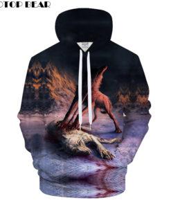 3D printing hooded sweatshirt Wolf Fall 2018 Men Drop Ship ZOOTOP BEAR