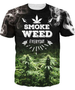 3D sheet T shirt men women smoke weed letter print casual summer tops all printing Brand clothing brand T-Shirt