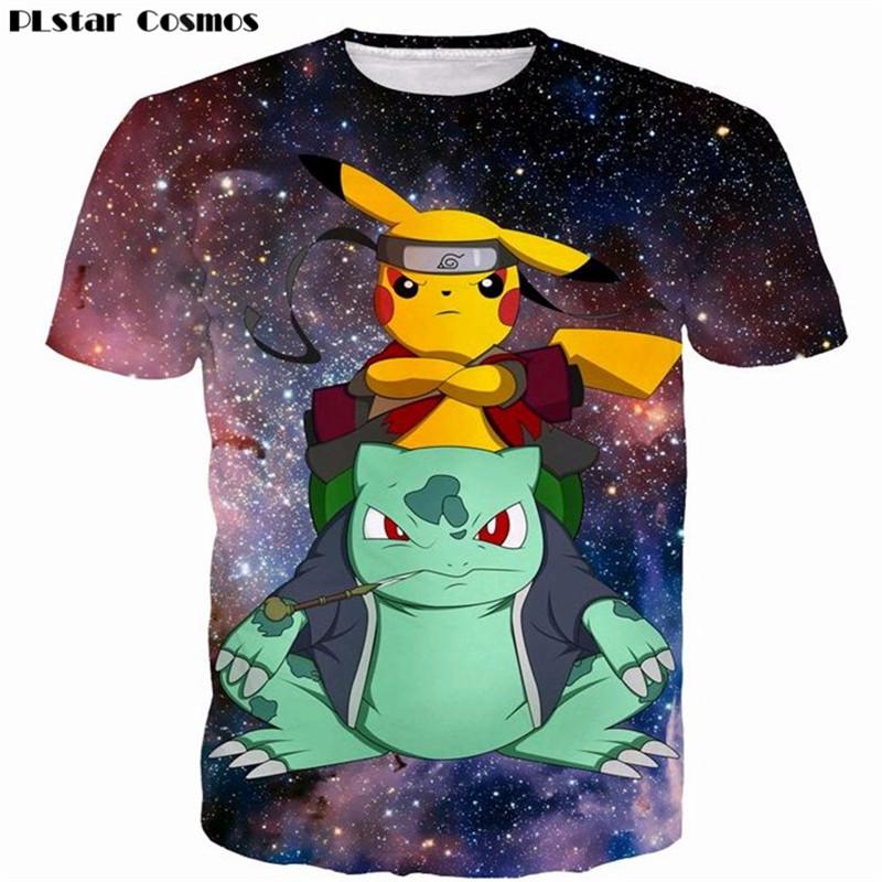 Cosmos Space Galaxy maverick short sleeve shirts cute Pokemon Men Women