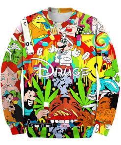 3D cartoon Super Mario Drugs pills sweatshirts Weed Printed long sleeve men
