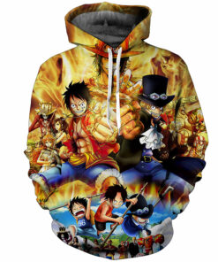 Sweatshirts 3D animated one piece Luffy print hooded men / women's long sleeve