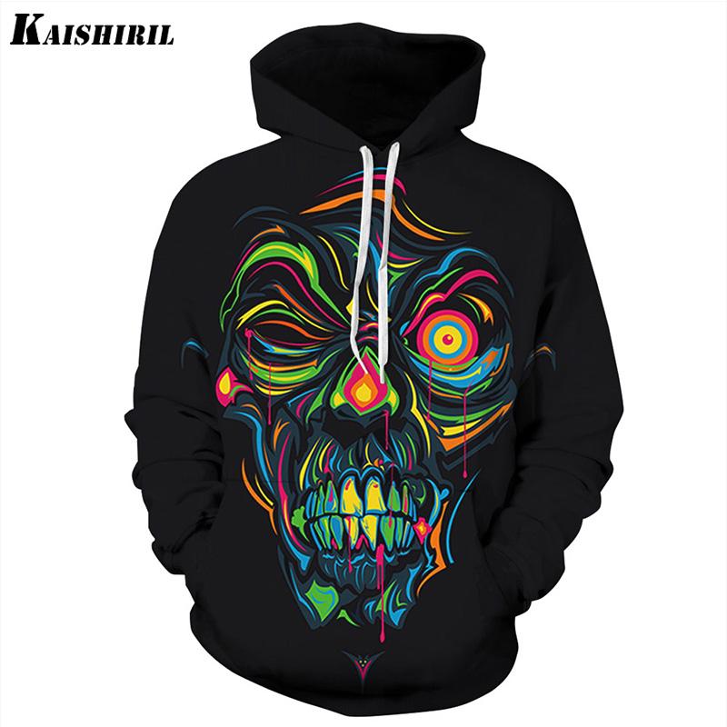 2018 Hip Hop Streetwear Hooded men Harajuku Halloween 3D Skull Print