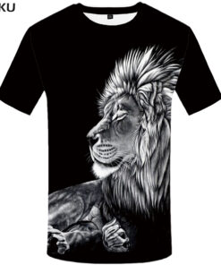 Lion Brand black T shirt 3d funny clothes men casual shirt Street