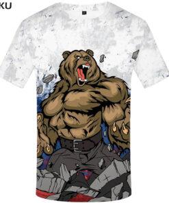 Mark Russia Russian Bear T-shirt Flag 3D Anime fitness mens