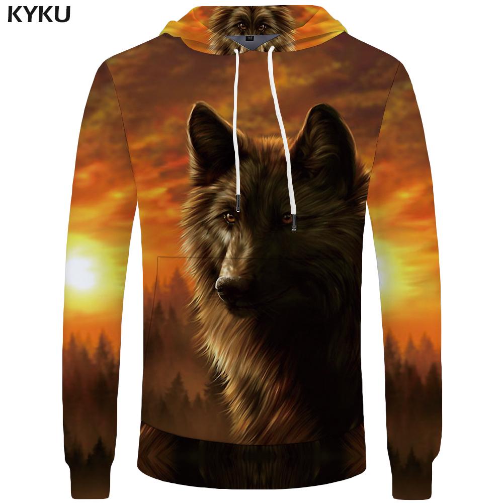 Brand Pocket Cloud Wolf Jungle Animal mens clothing large size T-shirt Hoddie