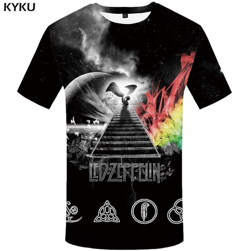 Led Zeppelin T-shirt Galaxy Moon 3D printing Hip Hop band t shirt for men