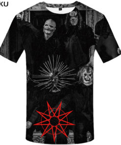 Slipknot t-shirt printed characters Black Shirt 3D Anime menswear