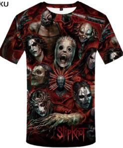 Slipknot Band T-shirt Hip Hop Streetwear Anime Tee Green menswear