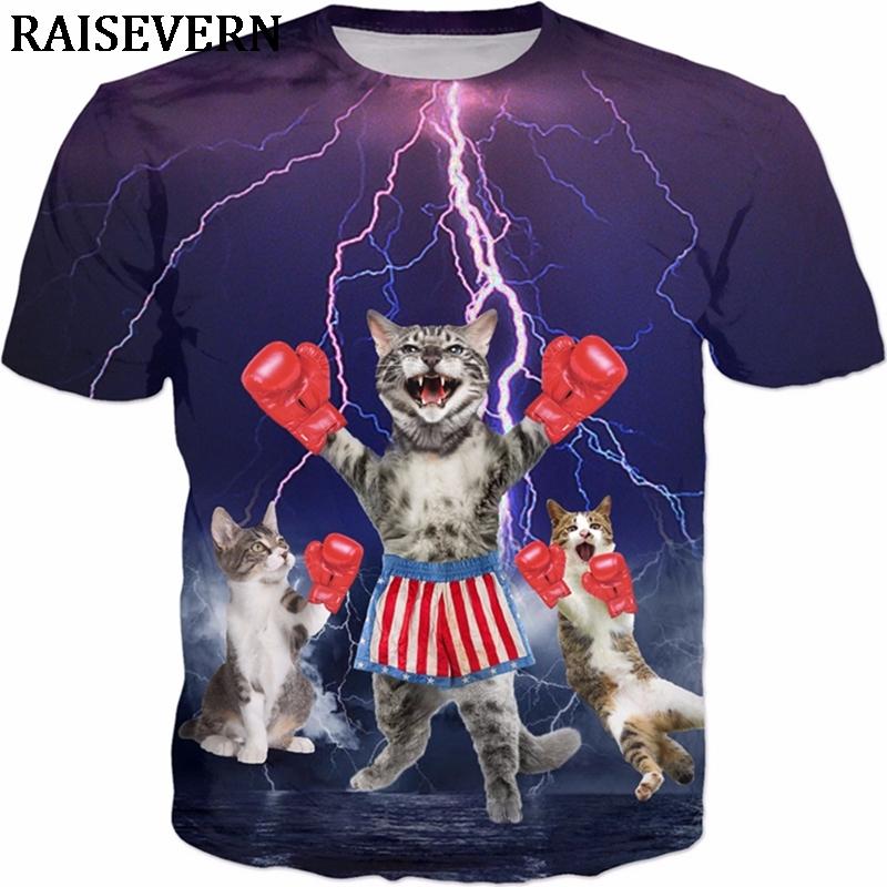 3d Lighting Boxer T Men Casual Shirts Hip Hop Cat Flash Cute T Shirt