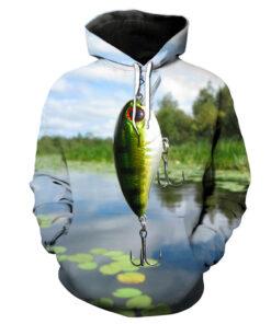 Lotus Pond Fish Hook Fun 3D Printed Hooded Sweatshirts euros SIZE