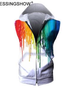 Male fitness clothing sleeves Zip Hooded Sweatshirt