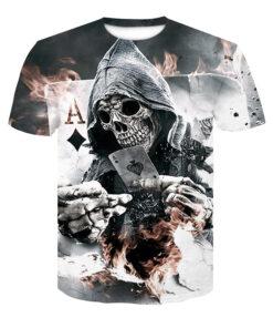 Summer 2018 3D Poker skull print men casual short-sleeved shirt