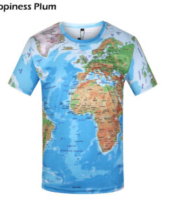 Brand 3D World Map T-shirts Funny Mens summer male short-sleeved anime