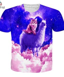 Galaxy Cat Animal Printed women alpaca shirt Homme mens funny tee Tops Summer Casual T-shirt for men Streetwear
