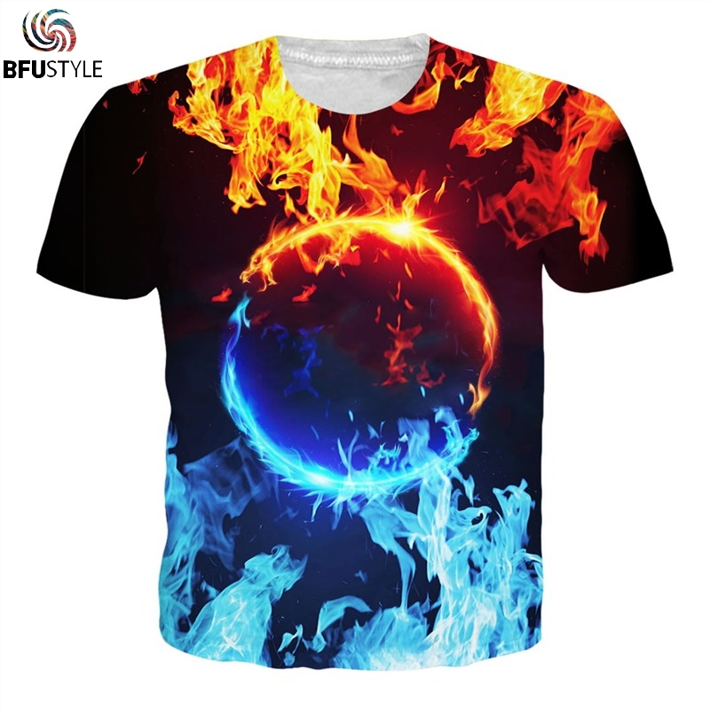 Womens summer casual shirts fireball 3D printing Hip Hop T-shirt Homme cool  men s short 7b561d9e28