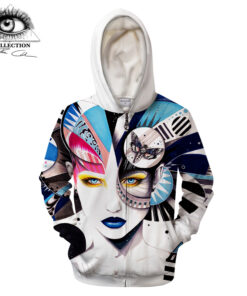 OSO foreign moths cold Pixie Art 3D Printed Zip Sweatshirt Men Street